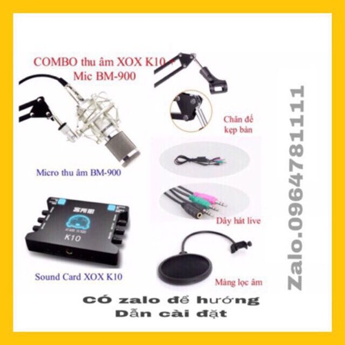 Combo suond card k10 mic bm900 chân kẹp màng lọc dây live ma2 đủ phụ kiện kèm theo bh 6 tháng đổi mới
