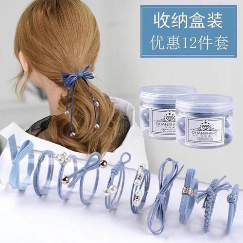 Set 12 dây buộc tóc mềm Hàn Quốc kèm hộp