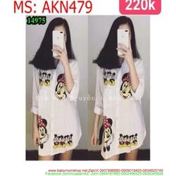 Áo kiểu nữ sơ mi phom dài hình chuột mickey xì teen AKN479