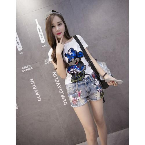 Quần short jean kèm áo phông chuột mickey - 6031461 , 10132831 , 15_10132831 , 589000 , Quan-short-jean-kem-ao-phong-chuot-mickey-15_10132831 , sendo.vn , Quần short jean kèm áo phông chuột mickey