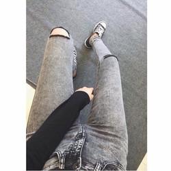 Quần Jeans Nữ Xám Rách Gối body cao cấp