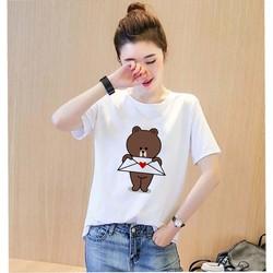 Áo thun nữ cổ tròn in hình gấu brown