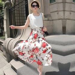 đầm xòe hoa hồng dự tiệc dạo phố sang chảnh