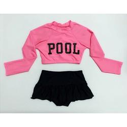 Đồ bơi bé gái tay dài chữ pool 30-42kg
