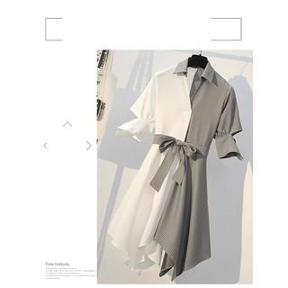 dress211N-ĐẦM SƠ MI PHỐI SỌC CAO CẤP S-6XL - dress211N thumbnail