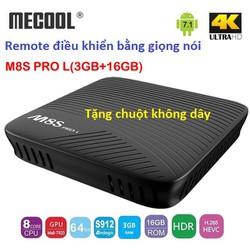 Android tv box Mecool M8s Pro, L3GR + CHUỘT wifi, đ.khiển giọng nói