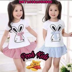 đầm kate pha thun cotton in thỏ