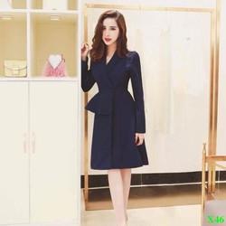Đầm Công Sở Dáng Xòe Cổ Vest Phối Peplum Sang Trọng
