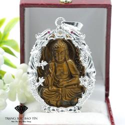 Mặt Dây Chuyền Phật A Di Đà Đá Mắt H ổ Nhỏ Bọc R ồng  - Bảo Tín