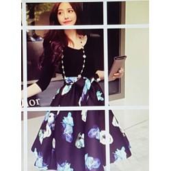 Đầm xòe nữ họa tiết đẹp mắt, phong cách trẻ trung.