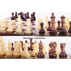 BỘ CỜ VUA TIKA giả vân gỗ size L lớn [ bộ cờ vua bằng nhựa đặc ]