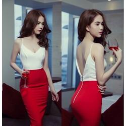 Đầm Ngọc Trinh ôm body kiểu hai dây thiết kế hở lưng sexy