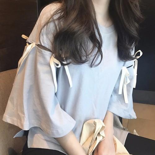 Áo THUN kiểu nữ cổ tròn tay loa thắt nơ xinh xinh kiểu dáng Hàn Quốc