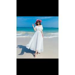 Đầm maxi voan lụa cao cấp trắng tinh đi biển cực xinh hàng thiết kế