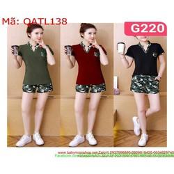 Sét thể thao nữ áo thun viền rằn ri phối quần short QATL138