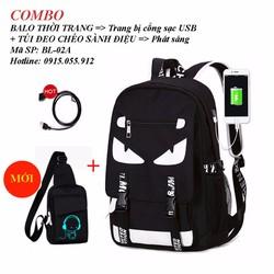 Balo nam - Combo balo thời trang cổng sạc USB + túi đeo chéo phát sáng