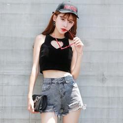 Quần short jean nữ rách tua lưng cao kiểu Hàn quốc