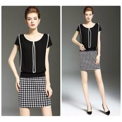 Set váy short móc câu áo viền cao cấp
