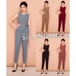 Set nguyên bộ quần dài áo peplum cột nơ eo - Size M, L, XL