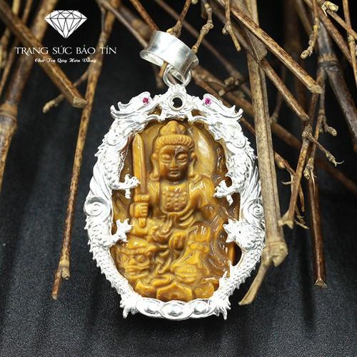 Nhập SXUON05059 Nhận Giảm Giá,Dây Chuyền Phật Văn Thù Mắt Hổ Nhỏ Bọc R ồng  - Bảo Tín