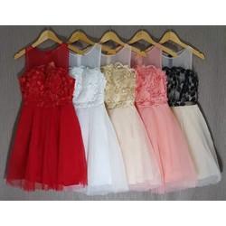 Đầm xòe ren công chúa cao cấp 5 màu da, hồng, đỏ, đen, trắng