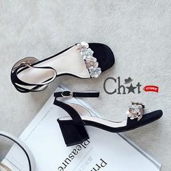 Giày Sandal Cao Gót Nữ Quai Ngang Đính Hoa Đá