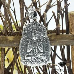 Mặt Dây Chuyền Phật Phổ Hiền Bồ Bát Quái Bạc Thái Đặc - Bảo Tín