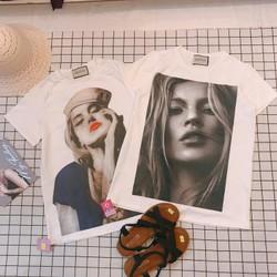 Áo thun in hình cô gái màu trắng