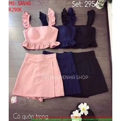Sét áo ngắn 2 dây lai bèo và chân váy chữ a xinh xắn SAV40