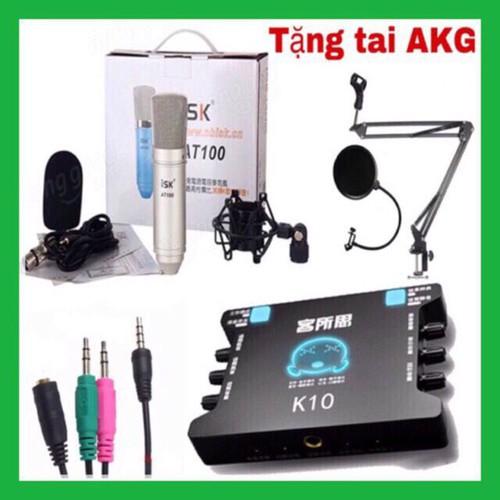 combo mic thu âm isk at100 và suond card k10