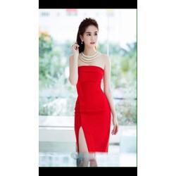 Đầm đỏ cúp ngực dễ thương như Ngọc Trinh 1837