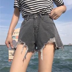 Quần short jean lưng cao xám rách
