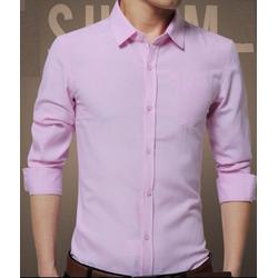 Áo sơ mi nam dài tay màu hồng phấn vải rất đẹp