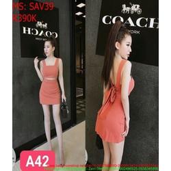 Sét áo kiểu hở lưng 2 dây và chân váy chữ a thời trang SAV39