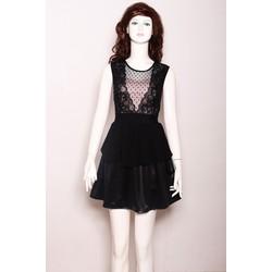 Đầm Phối Ren Váy Da Quyến Rũ