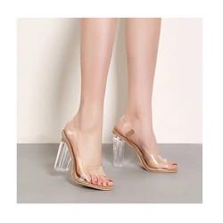 Giày cao gót đế vuông trong suốt dây hậu