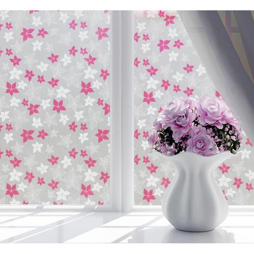 combo 5m decal giấy dán kính hoa sao năm cánh trắng hồng