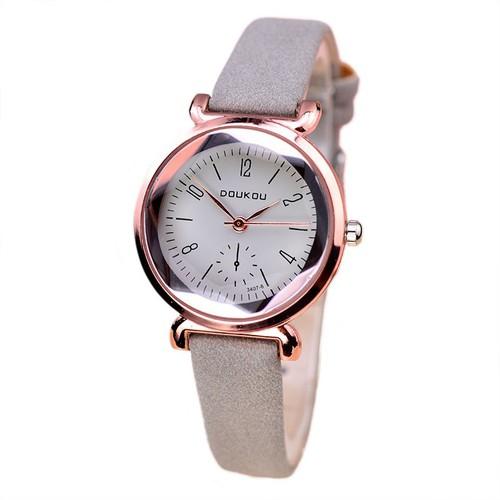 Đồng hồ nữ DOUKOU dây da mềm mặt kính 3D kim rốn size 29mm nhỏ xinh DK7117