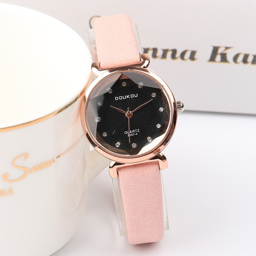 Đồng hồ nữ DOUKOU dây da lộn mặt vát 3D thời trang DK4407