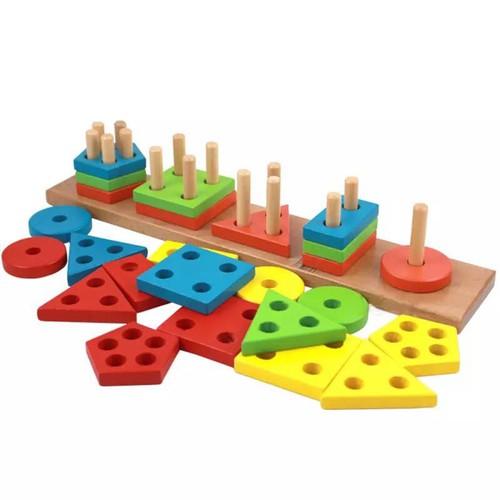 Giáo Cụ Montessori Bảng Phân Loại Màu Sắc Hình Khối Cho Bé