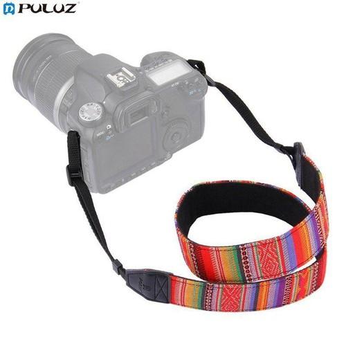 Dây đeo cổ thổ cẩm cho máy ảnh kiểu Vintage hãng PuLuz_Sọc Xanh Đỏ