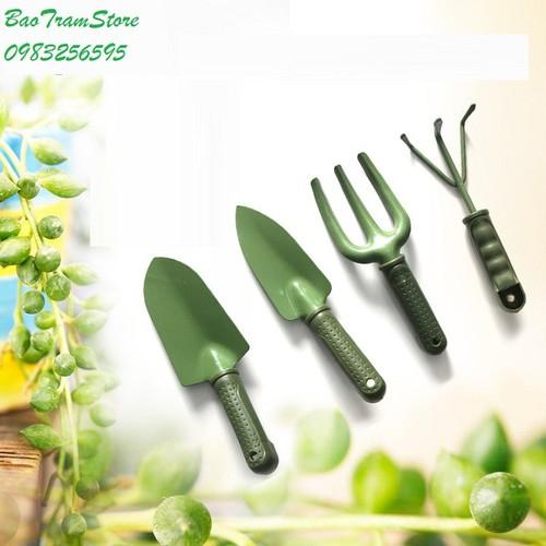 Bộ dụng cụ làm vườn 4 chi tiết màu xanh bộ đội chất lượng cao