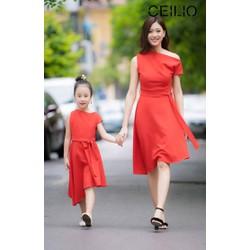 Sét váy đầm mẹ và bé kiểu vai lệch màu đỏ dễ thương