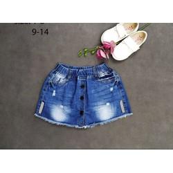 Quần váy jeans bé gái wash đính nút sành điệu 22_38 kg
