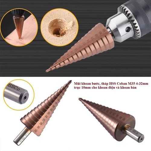 Mũi khoan bước tháp HSS COBAN M35 4-32mm khoan inox,sắt,thép trục 10mm