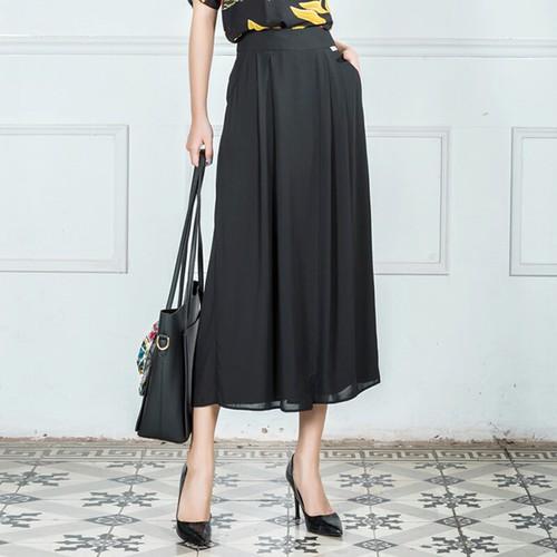 Quần lụa ống rộng giả váy mịn đẹp hai túi