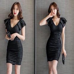 Đầm ren đen nhún cao cấp cổ V quyến rũ DRN175