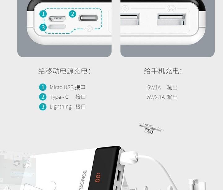 R0M0SS LT20 20000mAh-2 Cổng USB Sạc Ra-3 Cổng Sạc Vào. 1