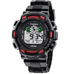 Đồng hồ trẻ em nam dây cao su Coolboss cao cấp 0929 đen viền đỏ