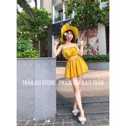 set Áo cúp hai dây chân váy xòe 3 màu vàng, trắng, hồng